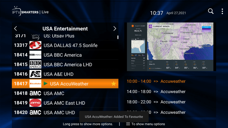 One of the best features within the BmoreStreams IPTV service is the ability to add channels to Favorites.