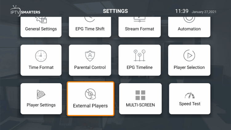 Another great feature of this IPTV service is the ability to add external video players.