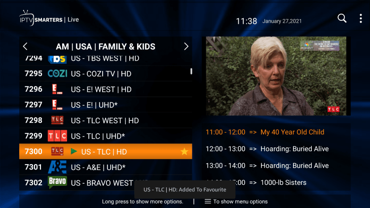 One of the best features within the Diablo IPTV service is the ability to add channels to Favorites.