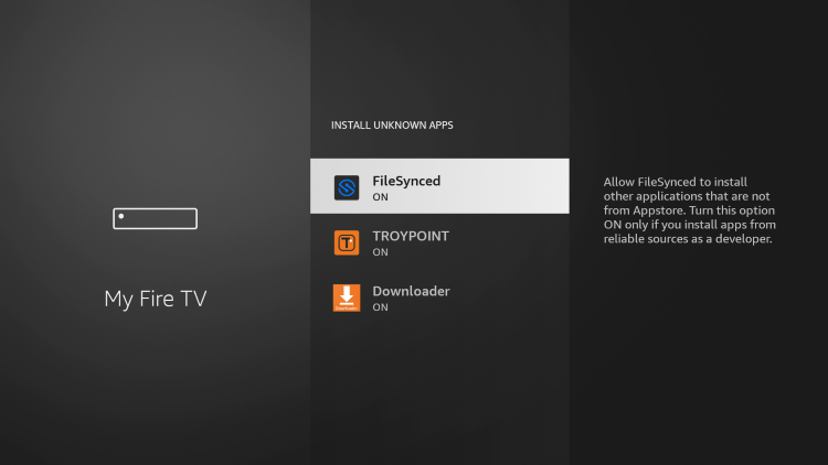 Prior to launching FileSynced, you will need to enable Install Unknown Apps within the developer options.