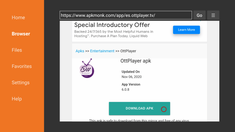 Scroll down and click Download APK.