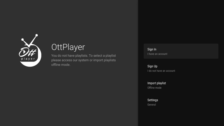 You have successfully installed OTTplayer APK on your device.