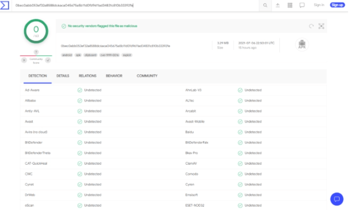 VirusTotal did not find any malicious viruses/malware within the official Unlinked APK file.