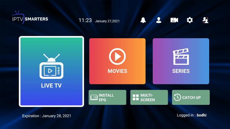 iptv smarters interface
