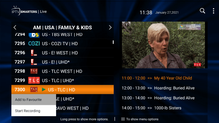 One of the best features within the Crow IPTV service is the ability to add channels to Favorites.