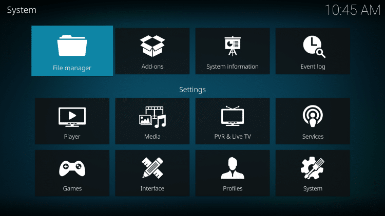 Next click the back button on your remote and select File manager.