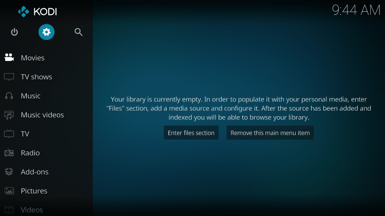 After Kodi is installed on your device, launch Kodi and click the Settings icon.