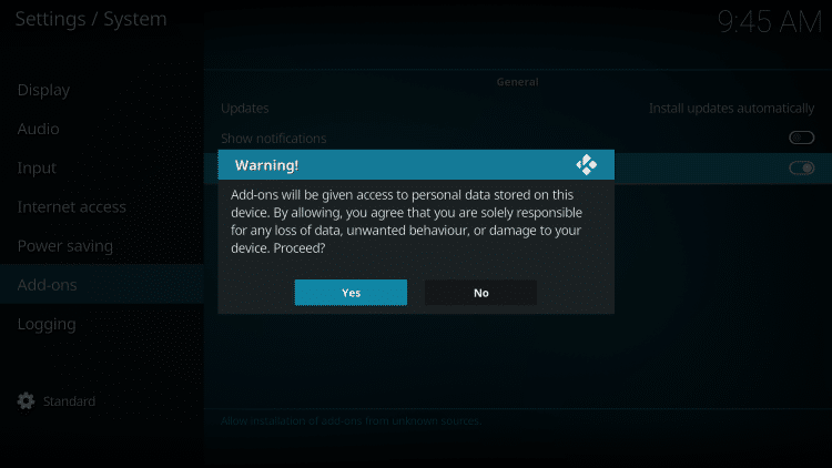 Read the warning message and click Yes.