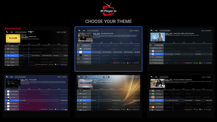 Choose your Theme and press the OK button.