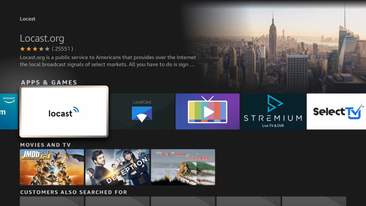 Click the option for Locast under Apps & Games.