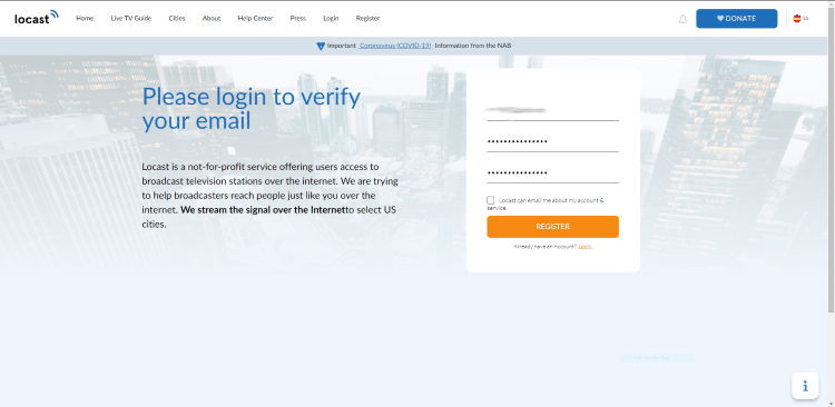 Fill out the required information and click Register.
