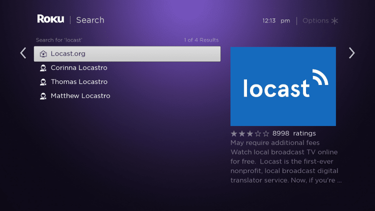 Scroll over and select the Locast channel.