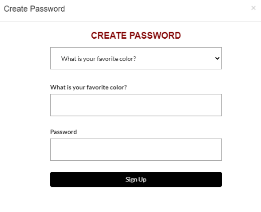 You will then be prompted to create a password. Create any password then click Sign Up.