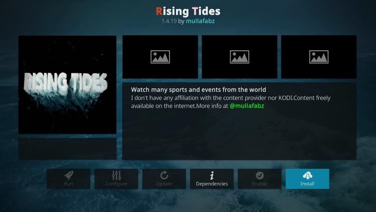 Click Install rising tides kodi addon