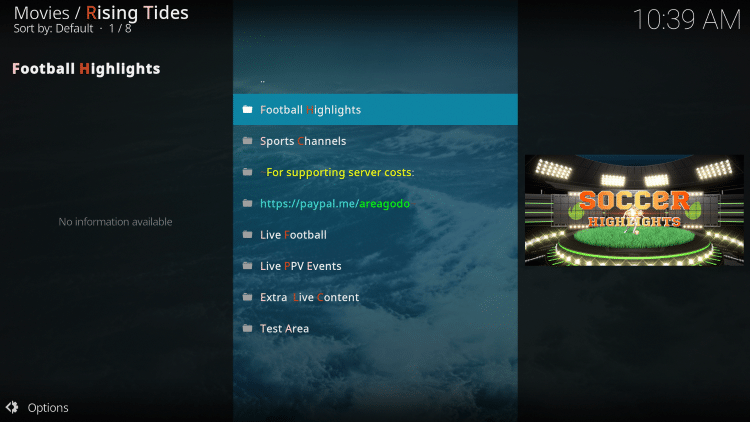You have installed the Rising Tides Kodi Addon on Firestick/Android.
