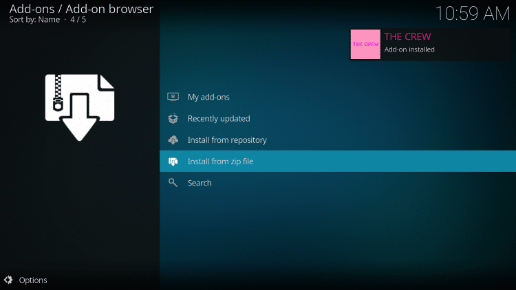 Wait a few seconds for The Crew Repository Add-on installed message to appear.