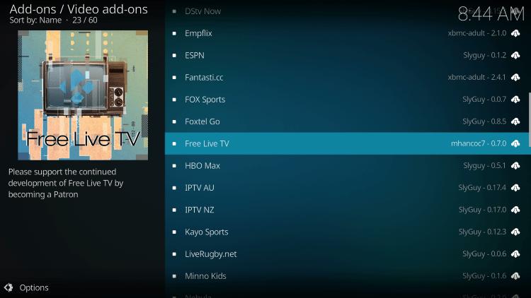 free live tv kodi addon iptv