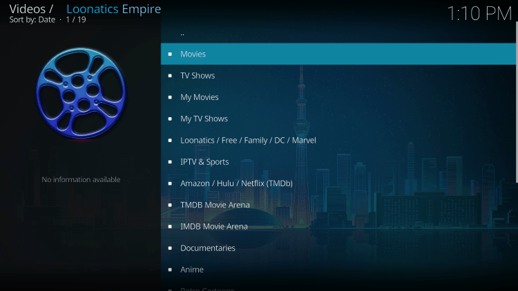 The LooNatics Empire Kodi Addon is widely considered one of the best Kodi Addons for live TV.