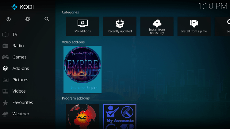Return back to the home screen of Kodi and select Add-ons from the main menu.