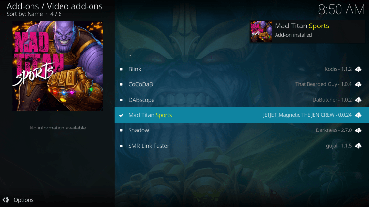 Wait a minute or two for the Mad Titan Sports Add-on installed message to appear.