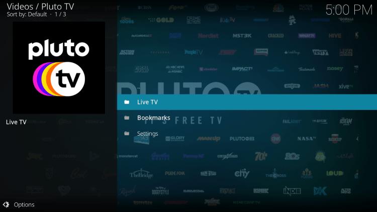 pluto tv kodi addon