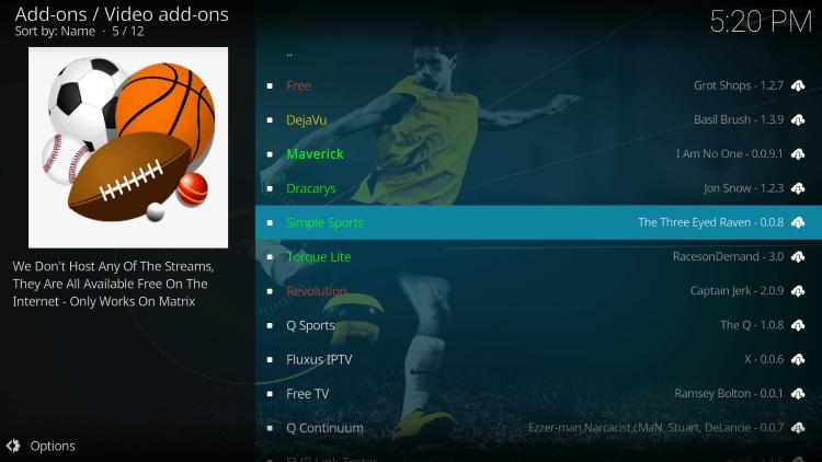 Click Simple Sports kodi addon