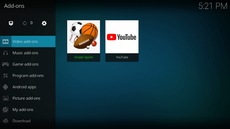 Click Video add-ons and then Simple Sports kodi addon