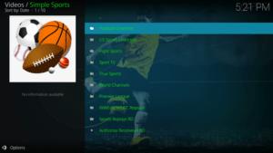simple sports kodi addon channels