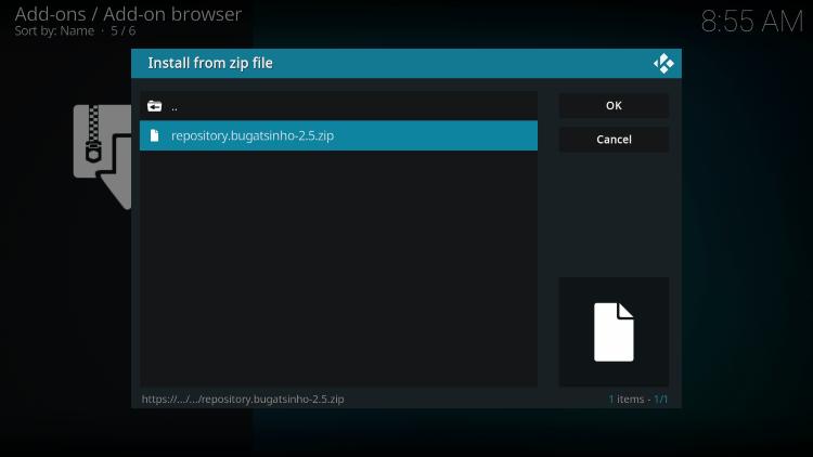 Click the zip file URL for the sporthd kodi addon