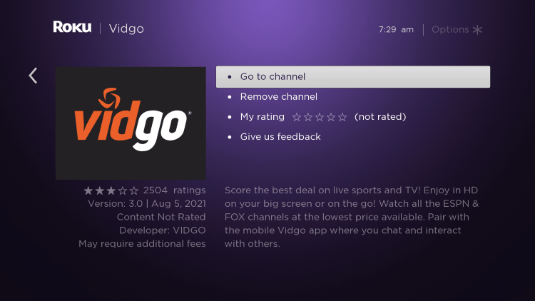 Return to the home screen and locate the channel to launch it.
