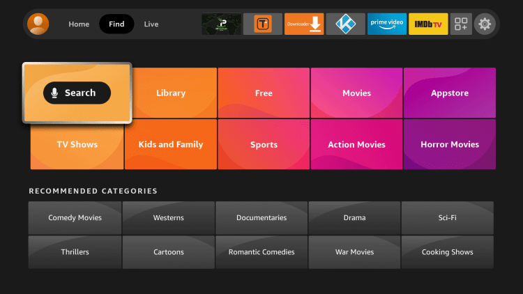 From the home screen on your Firestick/Fire TV hover over Find and click Search.