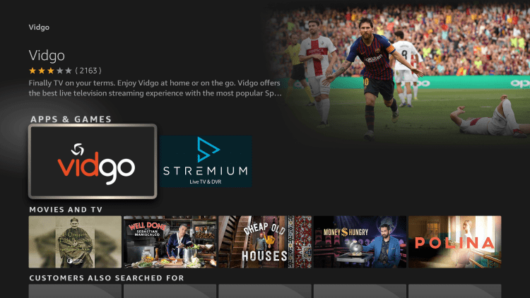 Click the option for Vidgo under Apps & Games.